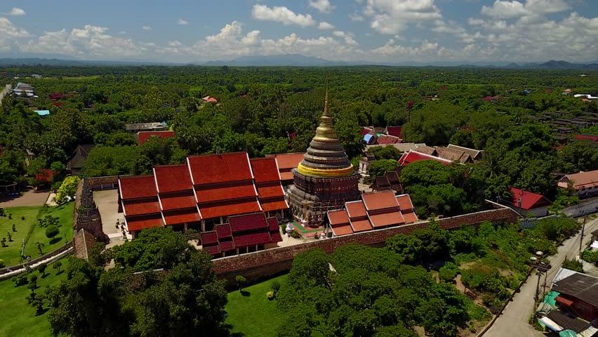 Aerial view Wat Phra That Lampang Luang in Lampang, Thailand.