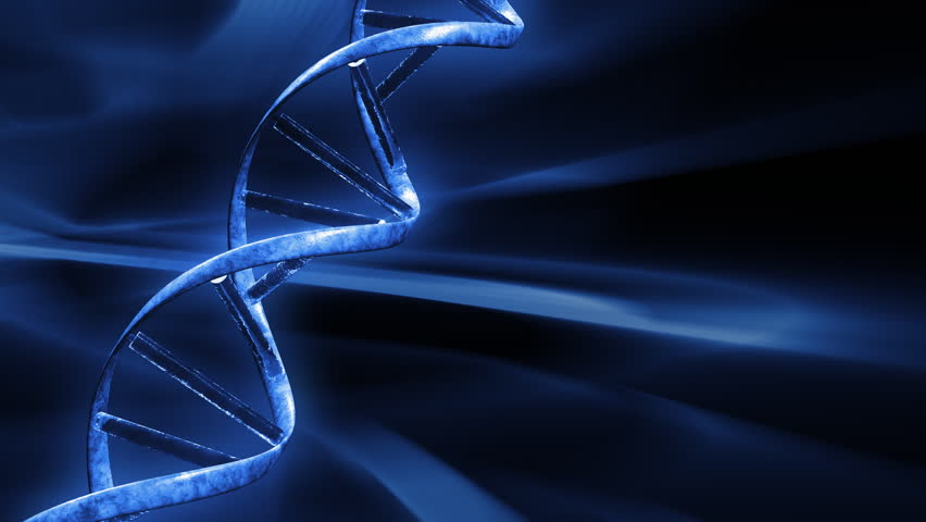 Blue FX Background with rotating DNA string,seamless loop