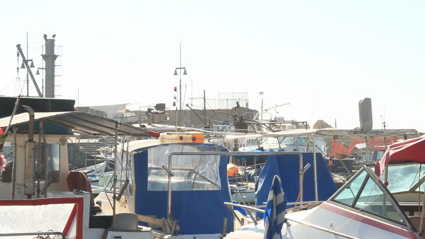 boats anchored at Jaffa port on still water