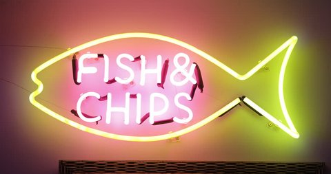 Fish and chips neon sign in 4K