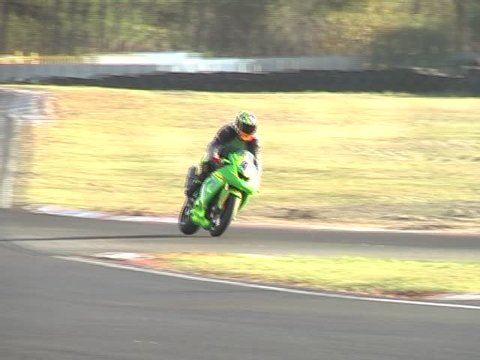High speed Racing motorcycle on the circuit at Kilarney (AVI Version)