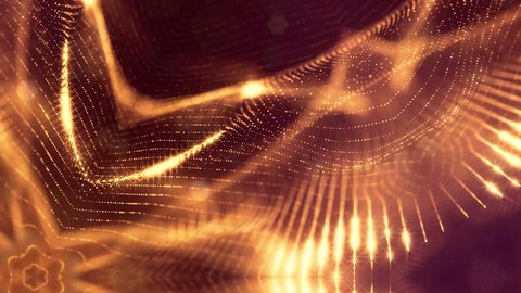 gold seamless abstract background with particles. Virtual space with depth of field, glow sparkles and digital elements. Particles form lines, surface. Looped bg for HUD or virtual backdrop 5