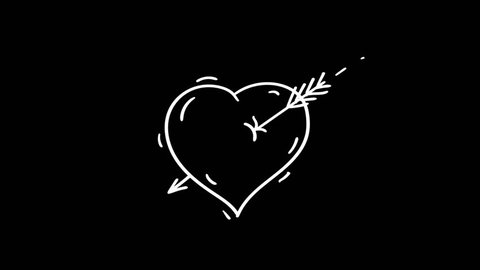 Drawn heart with arrow doodles. Motion graphics. Transparent background.