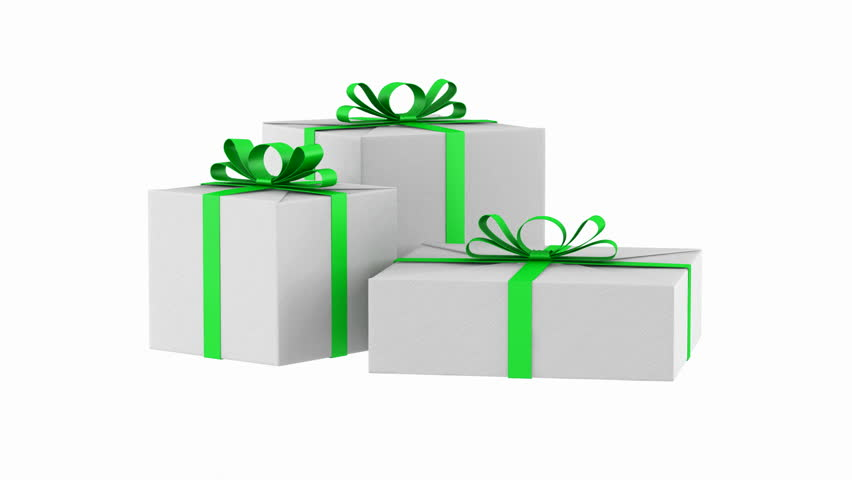 Gift boxes with color ribbons and bows loop rotate on green three white gift boxes with green ribbon and bow loop rotate on white background hd negle Choice Image