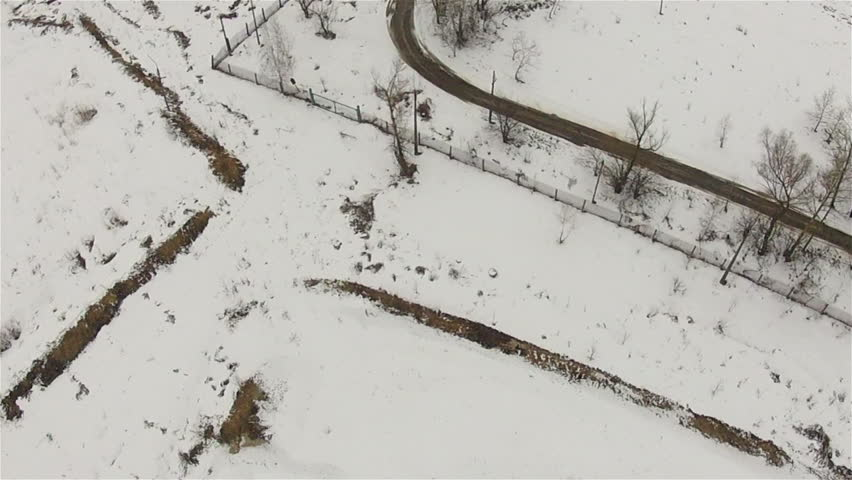 Winter landscape.  Bird's  top view | Shutterstock HD Video #3558539