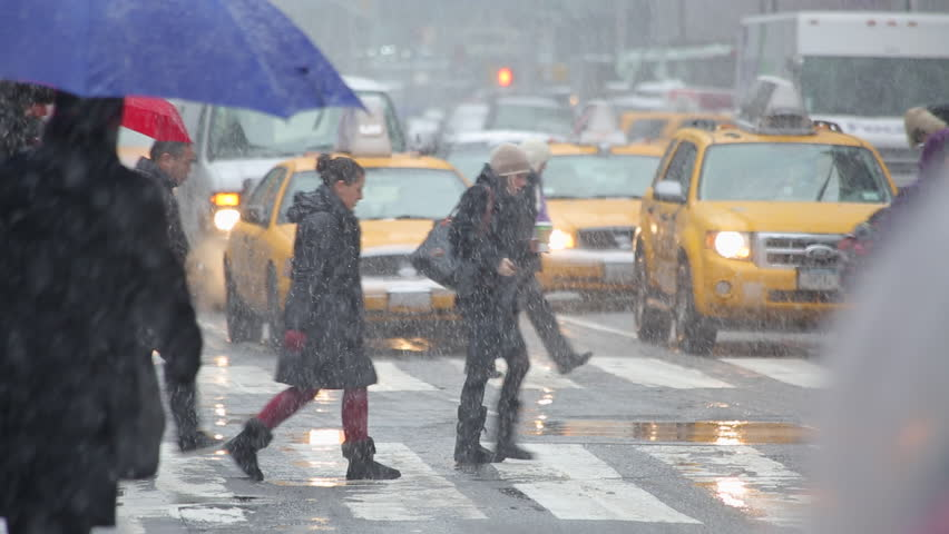 NEW YORK CITY - CIRCA MARCH 2013: Snow falling in Times Square