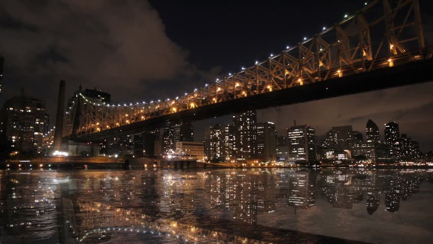 New york city nyc cityscape skyline night bridge east river view manhattan water reflection usa east coast 1080 HD district panorama view traffic areal view big city  | Shutterstock HD Video #3568169