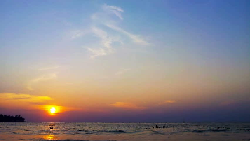 1920x1080 video - Tropical beach sunset time lapse clip with deep blue sea and manycolored sky