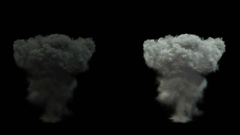 mushroom smoke cloud after explosion. alpha channel