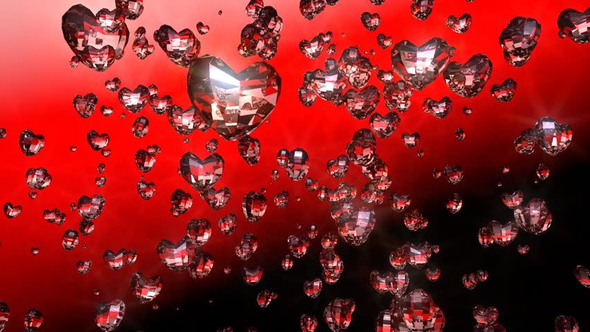 Intro diamond hearts flying up, camera rotate