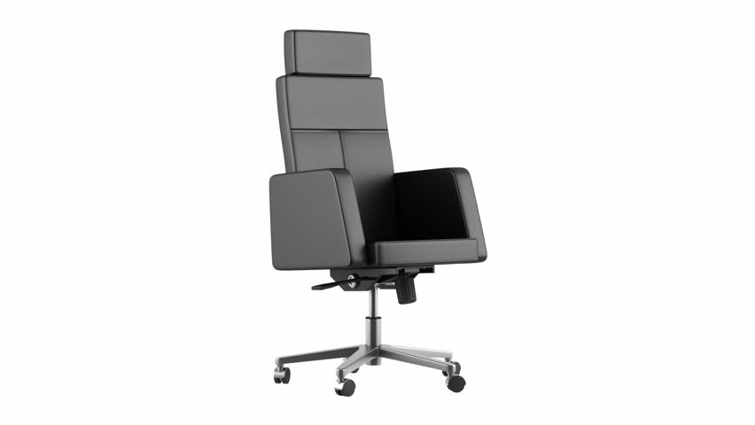Modern Black Office Chair Loop Rotate On White Background