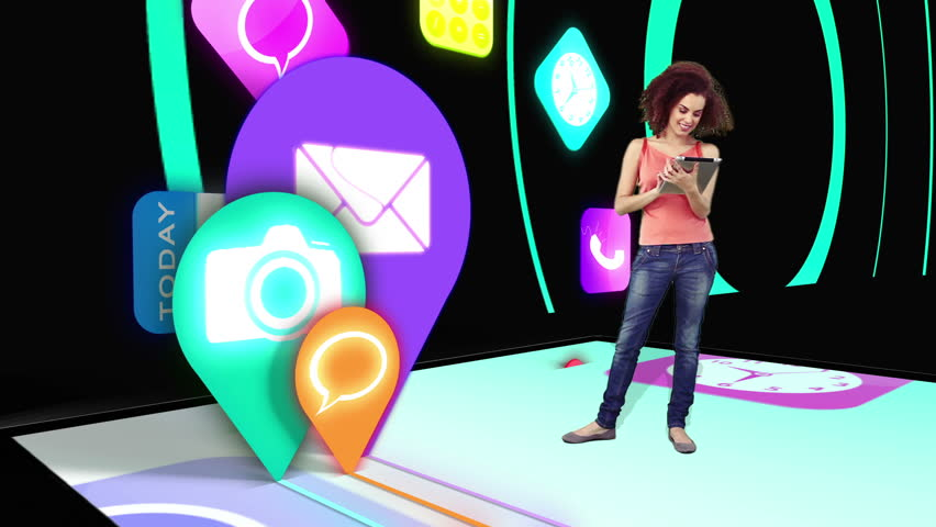 Girl walking on and using tablet pc with holographic application icons on black background with blue circle