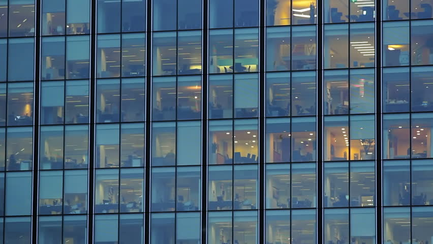 Glass business building in London at night #3633134
