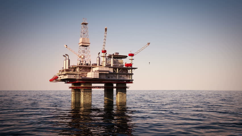 Oil Platform On Sea Is Offshore Structure With Facilities ...