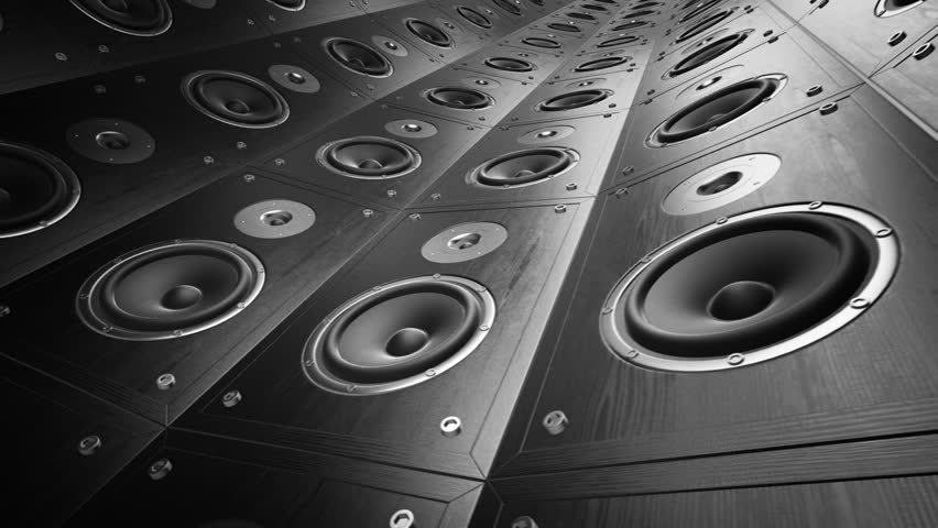 Rotating wall of speakers. Loopable animation.   Shutterstock HD Video #3634979