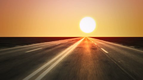 Loopable endless road animation. Low shot. Sunset