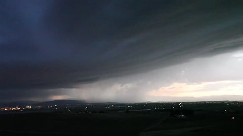 Severe Thunderstorm. A typical intense storm with most of discharges in anvil cloud