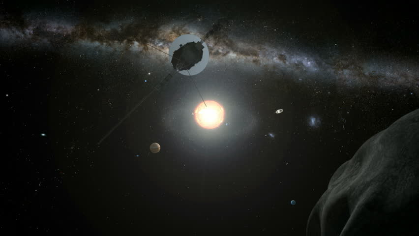A giant asteroid passes by and our solar system is revealed.  The space probe Voyager One then flies over our heads and into interstellar space.