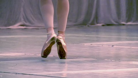 Ballet. Slow Motion at a rate of 240 fps. Ballerina shows classic ballet pas