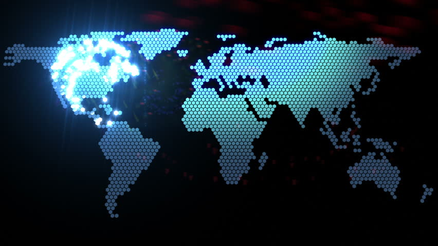 digital world map animation, seamless loop