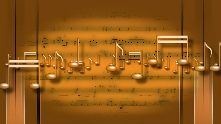 Flying Music Notes Golden Reading Playing