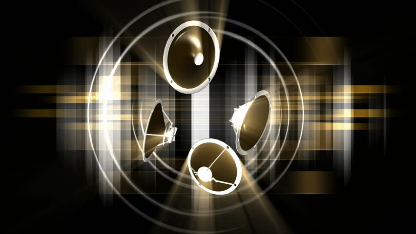 Rotating Speakers Black Gold Hologram Background