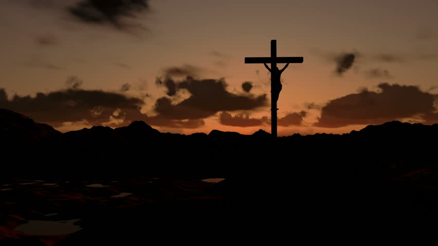 Jesus on Cross, timelapse sunrise, zoom in