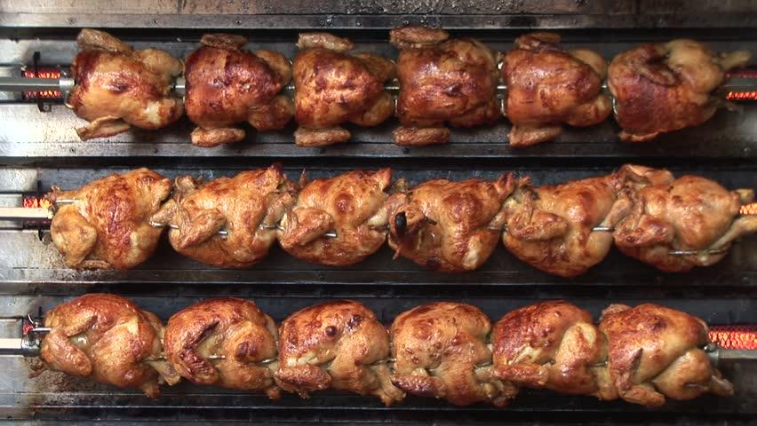 HD1080i Lot of Roast Chicken. Oktoberfest. Munich beer festival.