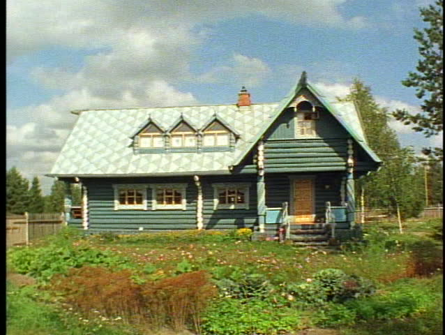 Russian Village houses, quaint, colorful, medium shot, blue/gray