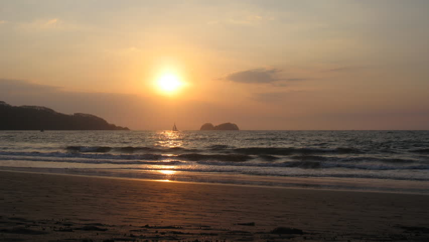 COSTA RICA - MAR 2013: Timelapse shot of Playas Hermosa during sunset in Costa Rica, March 2013.