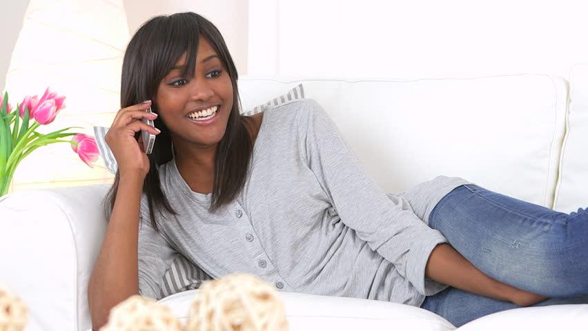 Black girl on phone talk this