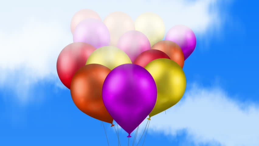 Happy Birthday Balloons Colorful Are Flying Up Through The Clouds Into Blue Sky While They Exploding Title
