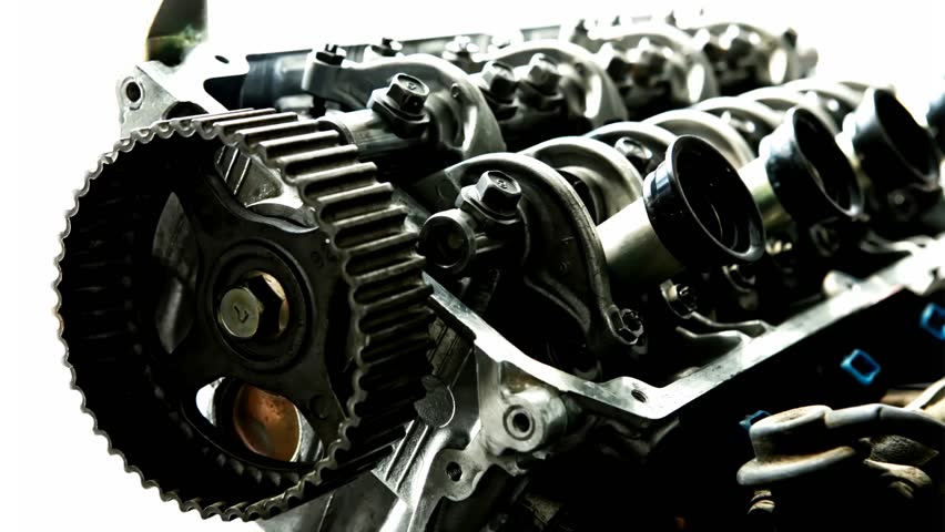 Car Engine Inside View Isolated Over White   HD Stock Footage Clip
