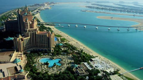 Aerial view Palm Atlantis on Palm Jumeirah, Dubai