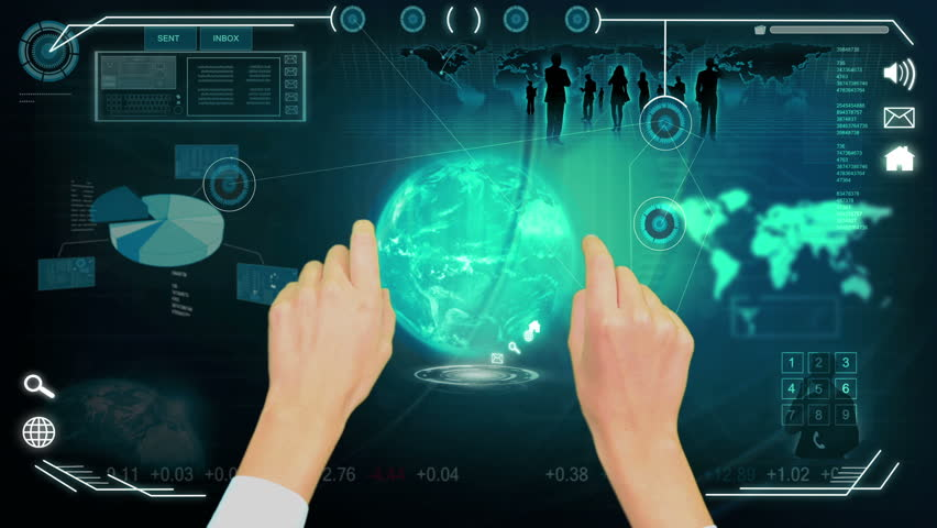 3D digital images hands using digital touch screen data base for business interface with professional contacts | Shutterstock HD Video #3736754