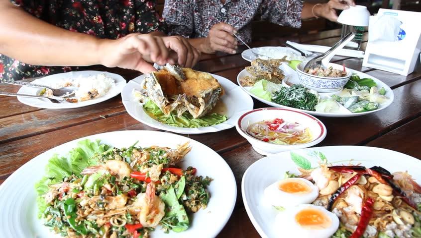 Group of Thai food dinner,, Thailand family #3738839