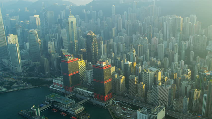 Aerial view of causeway highway and Hong Kong city skyscrapers,  | Shutterstock HD Video #3738866