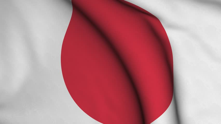 Seamless looping high definition video closeup of the Japanese flag with accurate design and colors and a detailed fabric texture.