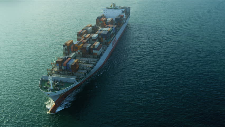 Aerial view of ocean Container ship Hong Kong Island, South China Sea, China, Asia