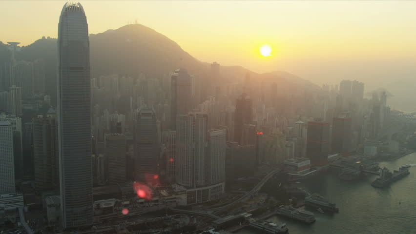 Sunset view of 2 IFC Victoria Peak, Hong Kong Island, Hong Kong, Asia, RED EPIC | Shutterstock HD Video #3745202