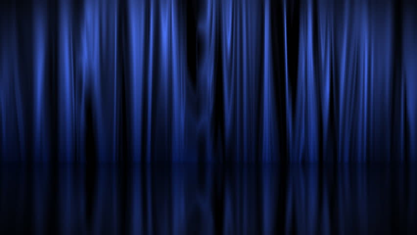A Blue Velvet Curtain Opening With Spotlights In A Movie