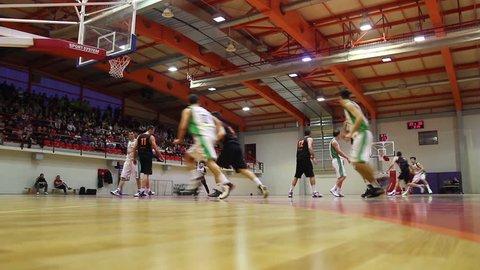 RIJEKA, CROATIA APRIL 7: basketball match: KK Skrljevo (white) vs. KK Sibenik (black) on April 7, 2013 in Rijeka