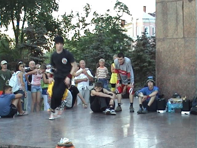 Ukraine, the city of Berdyansk, on June, 15th, 2008. Public statement of fans hip-hop. Dances under music.
