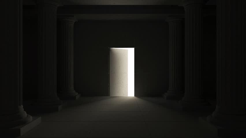 Gold Door Open To Reveal. Gold Doors Open To Reveal