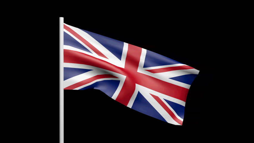 seamless looping high definition video of the british flag waving on a flag pole with luma matte