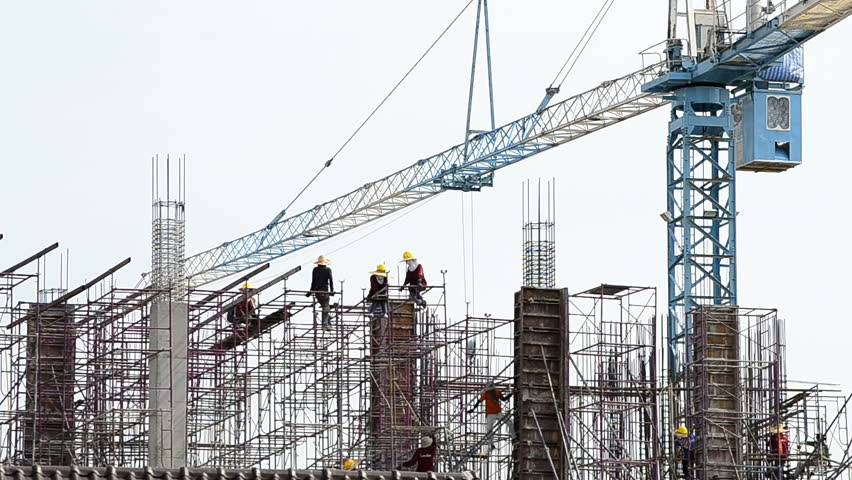 time lapse people working in construction site