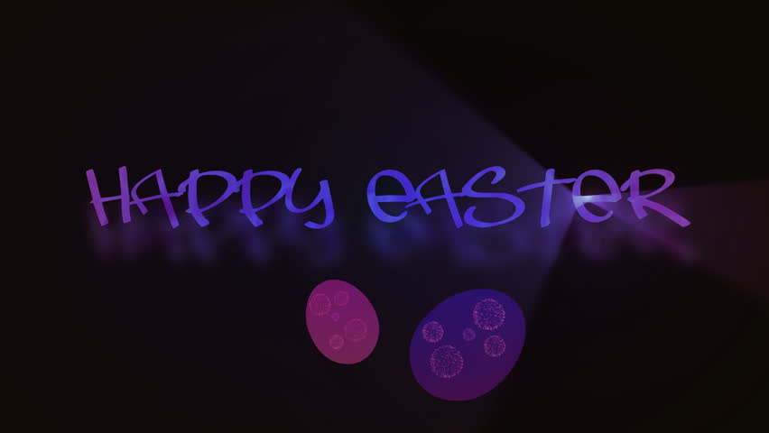 Inscription Happy Easter with eggs animated