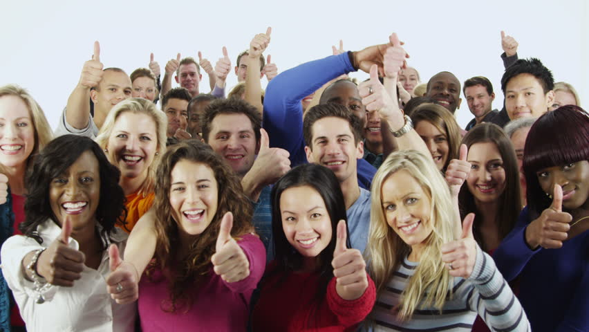 Portrait of a happy and diverse multi ethnic group of people in colorful casual clothing, isolated on white in a studio shot. They all hold their thumbs up to camera as a sign of their success. | Shutterstock HD Video #3813743