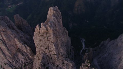 Spectacular aerial helicopter shot of a mountain/Dolomites/Italy