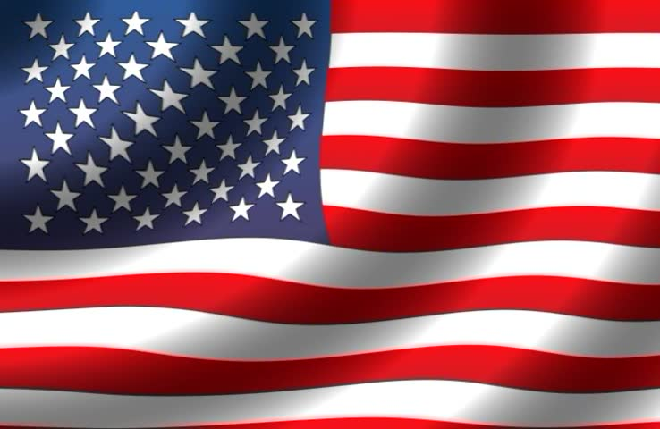 USA flag waving in the wind - slowly - perfect background animation for news-room shots